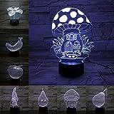 SYYUIN Luz de la noche del dormitorio de los niños 3D luz de humor del altavoz del bluetooth de la luz de la noche del despertador de 16 colores Seta edificio LED luz de noche 3D luces ópticas USB de