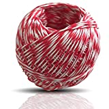 Kerafactum Cuerda para asar, hilo rojo y blanco, para cocineros y carniceros, hilo de cocina resistente al calor y apto para alimentos, para espárragos o asados con rodillo, cinta de cuerda.