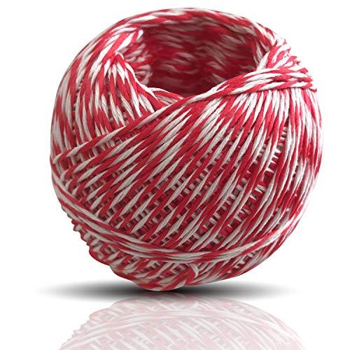 Kerafactum Bratenschnur Garn rot weiß für Koch und Fleischer Küchengarn ist hitzebeständig und lebensmittelecht geeignet für Rouladen Spargel oder Rollbraten Wurst Schnur Band