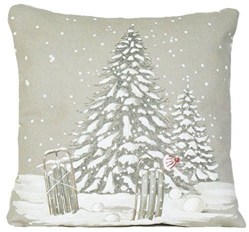 Sapin de Noël Inscription Merry Christmas Snow Housse de Coussin Plaid Taie d'oreiller
