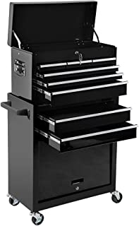 Tool Box Rolling 2 in 1 Portable Tool Chest Cabinet Top&Bottom Key Lockable Storage Toolbox with 4 Swivel Wheels (2pc with brake), 6-Sliding Drawers Removable Toolbox Organizer, Black.