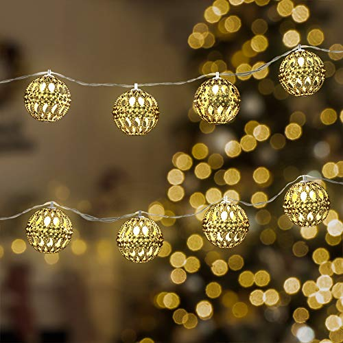 Holiday Decorative String Lights by Gideon 20 LED Solar Powered Hollow Metal Ball Fairy Lights for The Holidays and Christmas Decorations Great for House Parties - Indoor and Outdoor Decorations