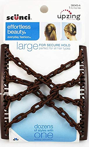 Scunci Effortless Beauty Double Combs, Upzing, Large 1 Piece (Brown)