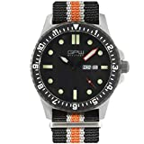 German Military Titanium Watch. GPW Day Date. 200M W/R. Sapphire Crystal. Black White & Orange Nylon...