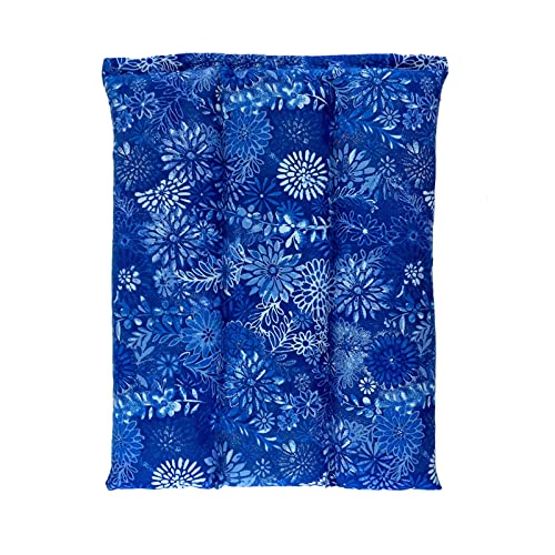 Nature Creation All Purpose Heating Pad Microwavable - Deep Moist Heat Aromatherapy Heating Pads for Back Pain, Morning Stiffness, Cold Nights, Headaches, Hot and Cold Relief Therapy (Blue Flowers)