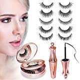 [5 Pairs]3D Magnetic Eyelashes, Reusable Fake Eyelashes,Magnetic Eyeliner Kit with Applicator and Tweezers Eyelashes Extensions by Bamoer