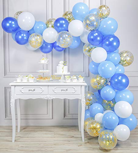 PartyWoo Luftballons Blau Weiss, 70 Stück 12 Zoll Luftballons Blau, Hellblau Luftballons, Luftballons Weiß und Konfetti Luftballons Gold, Luftballons Blau Gold für Royal Geburtstag, Babyshower Junge