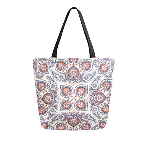 LUCKYEAH - Bolso de lona con estampado floral tribal para mujer, bolsa de hombro grande, reutilizable, bolsa de compras para niñas y mujeres