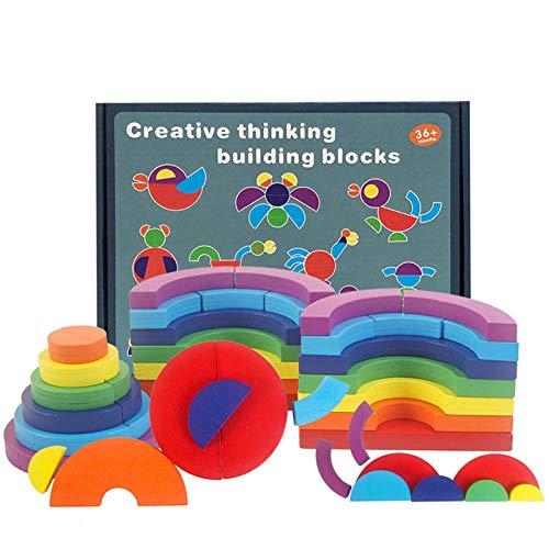 Bloques apilables de madera, juguetes, hermoso apilador arcoíris de madera, grandes bloques...