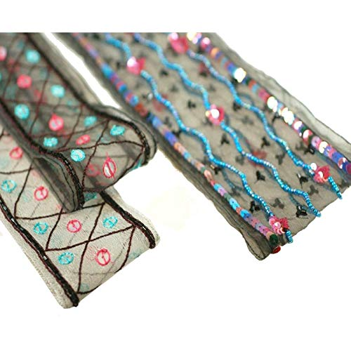 Neotrims salwar kameez Indian Sari broderie Couper, paillettes, perles sur Organza. Deux superbes Designs de la main ornements, édition limitée, noir & gris, Polyester, Black Triangle Design 5.5cm, 1 m