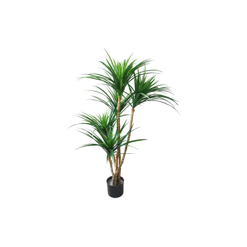 silk flower arrangements artificial tropical yucana tree with rubber leaves and natural trunk, fake plant for indoor-outdoor home décor-51-inch tall topiary by pure garden