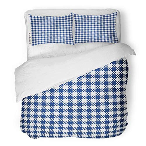 Tarolo Bedding Duvet Cover Set Pattern Blue Check Plaid Chess Tartan Abstract Celtic Checked 3 Piece Queen 90'x90' Quilt Cover with Zipper Closure
