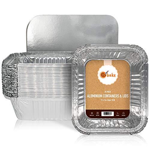 ebake Kleine Aluschalen mit Deckel, Alu Grillschalen für Fast Food Läden, Zubereitung, Mahlzeitpläne Die Grillschalen Aluminium sind ideal für Backen, Speicherung und Gefrierschrank - 25er-Set