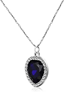Night Cat Titanic Heart of The Ocean, Blue Crystal Pendant with Pure Silver Necklace in A Classical Wooden Box Set