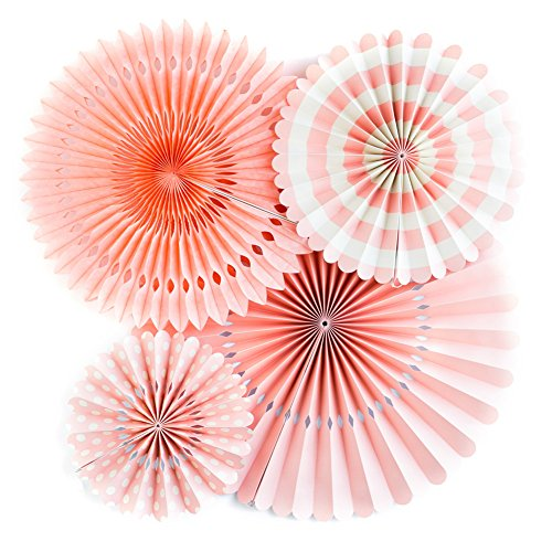 DIY Round Flower Paper Fans Coral Color Decoration for Birthday Wedding Carnival Baby Shower Home Party Supplies Sets of 4 (Pink)