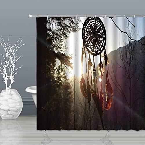 lovedomi Dreamcatcher Duschvorhänge Feder Indian Mythical Sunshine Plant Kreative Schwarz Weiß Badezimmer Gardinen Dekor Polyestergewebe Schnell Trocknend 72x78 Zoll Inklusive Haken Hook