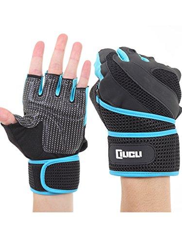 LICLI トレーニンググローブ 筋トレ メンズ レディース ジム ダンベル ウェイトリフティング グローブ 「 マメ予防 滑り止め メッシュ加工 」「 手首保護 リストラップ 一体型 」「 M L XL サイズ 」 4カラー (ブルー, XLサイズ)