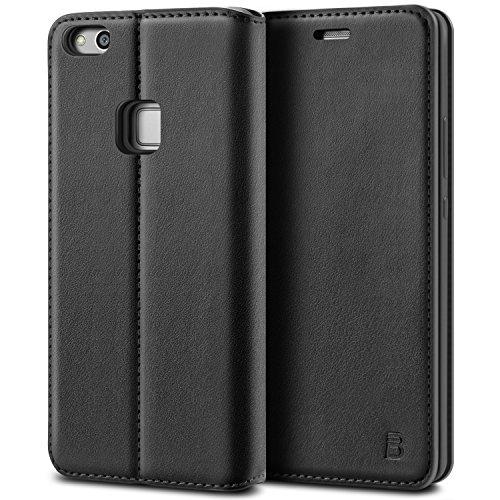 BEZ Hülle für Huawei P10 LiteHülle, Handyhülle Kompatibel für Huawei P10 LiteTasche Hülle Schutzhüllen aus Klappetui mit Kreditkartenhaltern, Ständer, Magnetverschluss, Schwarz
