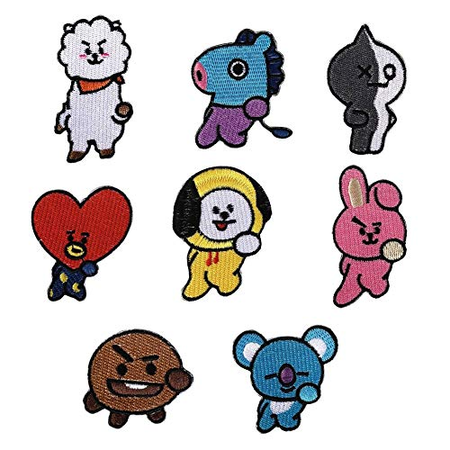Nuofeng - Kpop Bangtan Boys BTS DIY Clothes Patch Stickers Cartoon Pattern Applique or Sew On Patches for T-Shirt Jeans 8Pcs(H01)