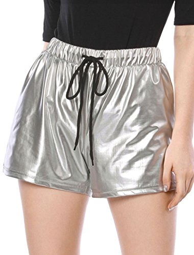 Allegra K Damen High Waist Drawstring Metallic Kurze Hose Shorts Silber M