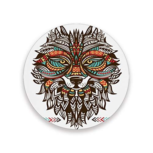 JUMBEAR Posavasos con diseño de lobo nativo americano, absorbente, humedad, antideslizante, con piedra de cerámica con base de corcho, protección para evitar daños en los muebles, 1 unidad