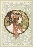 絵画風 壁紙ポスター (はがせるシール式) アルフォンス・ミュシャ ビザンティン風の頭部:ブルネット 1897年 アールヌーヴォー キャラクロ K-MCH-081S1 (585mm×846mm) 建築用壁紙+耐候性塗料