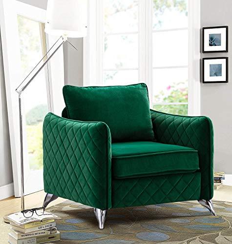 Altrobene Modern Accent Chair, Velvet Arm Chair for Living Room Bedroom Home Office, Silver Tone Metal Legs, Christmas Green