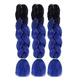 Ombre Jumbo Braid Hair Extensions - 3pcs/lot 2 Tone 24 Inches Multi Color Natural Synthetic Heat Resitant High Temperature Fiber DIY Braids Twist Crochet Box Braiding Hair Extension (Black & Blue)