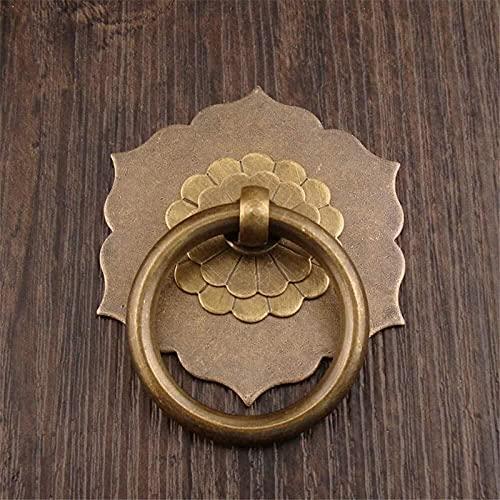 JJDSN Tiradores Redondos de Anillo de latón, Tiradores de Puerta, Tiradores Vintage de Bronce Antiguo para Puerta de cajón de Armario de Muebles de Madera 1119