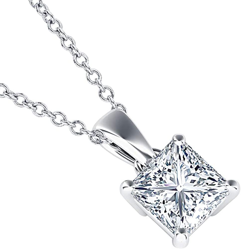 dazzlingjewelrycollection 5mm to 10mm 14k Gold Over.925 Sterling Silver White CZ Diamond Solitaire with Princess Shaped Pendant Necklace Valentines Day for Womens