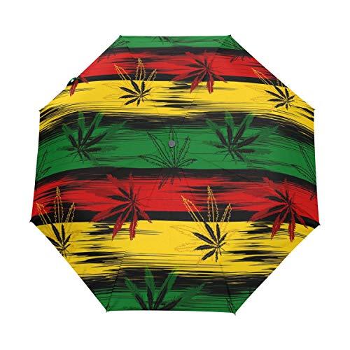 RXYY Marihuana Cannabis Hojas Pliegues Auto Open Close Paraguas para Mujeres Hombres Chicos Niñas Impermeable Compacto Viaje Ligero Paraguas de Lluvia