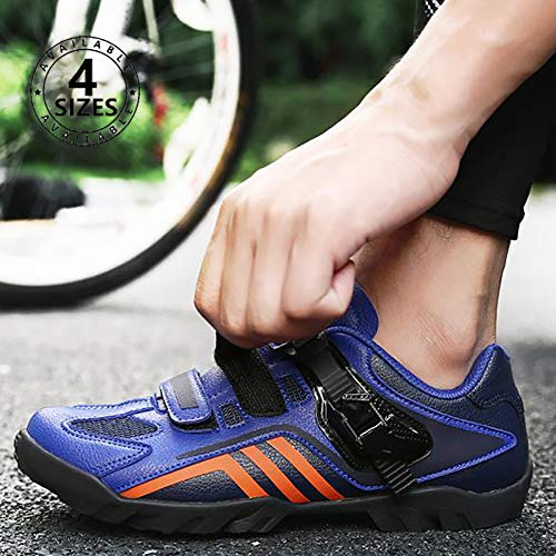 NNZZY Rubber Cycling Shoes are Soft Comfortable and Wear-Resistant The Buckle Design Can Stabilize The Outdoor Riding and is Not Easy to Cause Fatigue,Blue,38