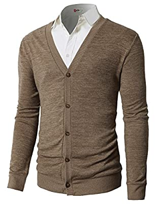 H2H Mens Casual Slim Fit Cardigan Sweaters V-Neck Long Sleeve Button-Down Basic Designed Beige US S/Asia M (CMOCAL019) by