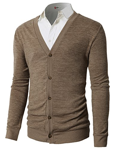 H2H Mens V Neck Button Fine Knit Cardigan Beige US L/Asia XL (CMOCAL019)
