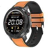 YQY Smart Watch, Fitness Tracker con Ritmo cardíaco, Monitor de sueño, IP67 Impermeable 8 Modos Deportivos Paso Contador para Mujeres Hombres,Brown Leather Strap
