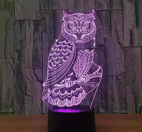 Acrílico 3D Owl Night Light Led Lámpara De Mesa Para Decoración De La Habitación Novedad Luces Nocturnas Para Regalo Infantil Lámpara De Interruptor Táctil Con Alimentación Usb