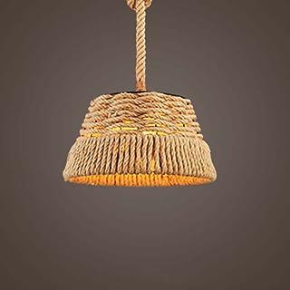 BJLWT Hemp Rope Chandelier- Diameter 38cm Single Head,Loft Restaurant Living Room Bedroom Pendant Light