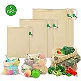 Coquimbo Obst und Gemüsebeutel, Wiederverwendbare Einkaufstasche waschbare Obst und Gemüsenetze aus Baumwolle umweltfreundliche Netz Taschen mit Kordelzug für plastikfreies Leben 5er Set (S, 2M, 2L)