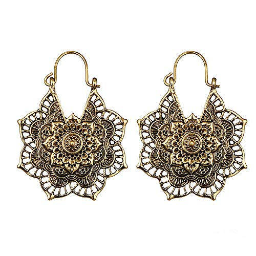 Pendientes para Mujer, Plata Antigua Gypsy Indian Tribal Ethnic Hoop Dangle Mandala Pendientes Boho Valentine 's Day Mother' s Day Gift