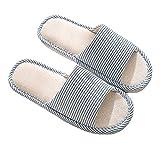 Zapatillas de Dedo del pie de Las Mujeres y de los Hombres Lino del algodón luz Suave Ocasional Zapatillas de casa cómodas y Respirables Antideslizante para Interiores y Exteriores (40/41 EU, Azul)