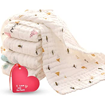 KOROTUS Muslin Baby Burp Cloths Washcloths Face Towels 5-Pack Extra Large 10 X 20 inches 6 Layers Super Absorbent Premium Soft Natural for Sensitive Skin Baby 100% Organic Cotton (5animals)