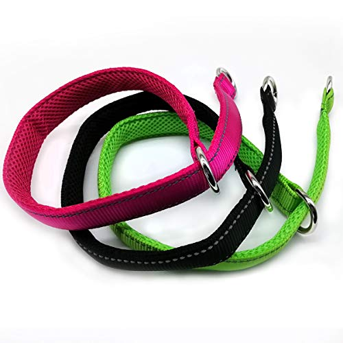 Mycicy Reflective Slip Collar, Soft Nylon Training Choke Collar for Dogs in Rose Red 20', Wide 1'