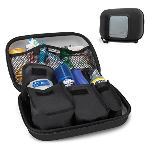 USA Gear Hard Shell Toiletry Travel Bag Organizer Kit with Customizable Storage Pockets - Perfect for Carrying Electric Toothbrush, Shampoo, Body Wash, Shaving Supplies and More Toiletries - Black