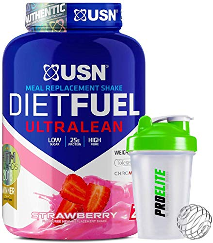 USN Meal Replacement Shake Diet Fuel Ultralean Protein 2KG Weight Loss Powder + Shaker (Strawberry)
