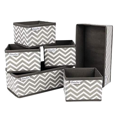 Babylovit 6er Set Aufbewahrungsbox - Faltbox für Bad, Wickelkommode - Aufbewahrung -Ordnungsbox - Schubladen Ordnungssystem - Bad Organizer & Deko