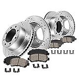 Callahan CDS02394 FRONT 360mm + REAR 358.26mm D/S 8 Lug [4] Rotors + Ceram. Brake Pads + Clips [fit...