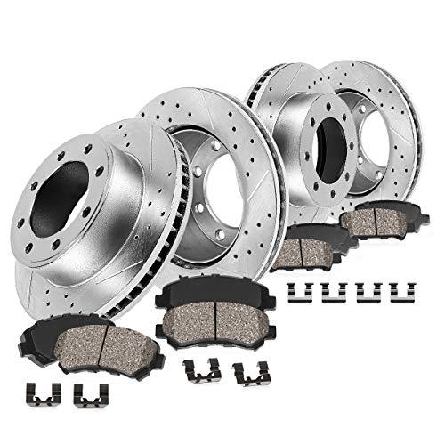 Callahan CDS02394 FRONT 360mm + REAR 358.26mm D/S 8 Lug [4] Rotors + Ceram. Brake Pads + Clips [fit Dodge Ram 2500 3500]