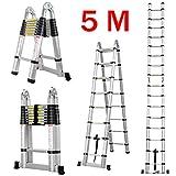 5M Teleskopleiter mit Stabilisator, 5M Ausziehbare Leiter Hochwertigem Klappleiter und Faltbaren Teleskopierbaren Aluminiumleiter 150KG (5M, 2,5M+2,5M)