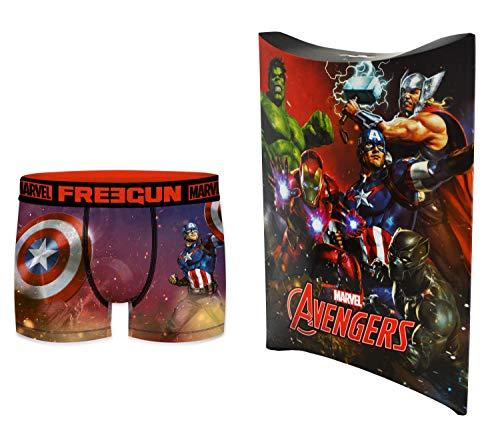 Marvel-Avengers Boxershorts mit Geschenkbeutel, offizielle Kollektion Freegun – Herren Gr. S, mehrfarbig