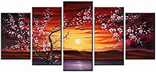 Wieco Art - 5 Panels Plum Tree Blossom Modern Giclee Canvas Prints Flowers Artwork Contemporary Abstract Floral Paintings on Canvas Wall Art Home Decorations Wall Decor